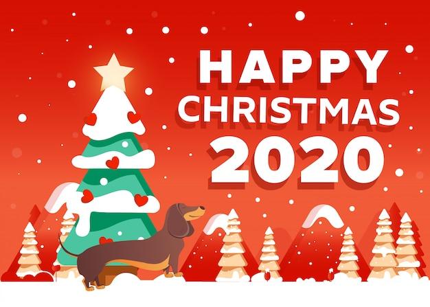 Sfondo di natale 2020 felice con cane bassotto, alberi, montagne.