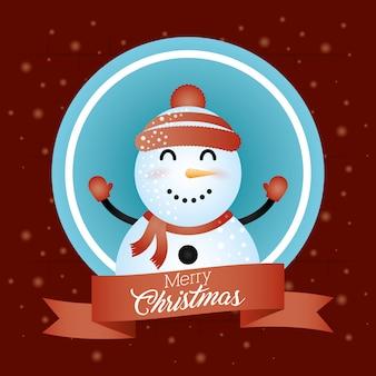 Sfondo di natale allegro con simpatico personaggio pupazzo di neve