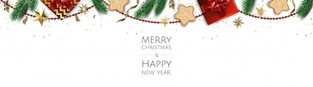 Sfondo di natale, biglietto di auguri di design creativo, banner, poster, confezione regalo vista dall'alto, palle di natale, stelle e fiocchi di neve,