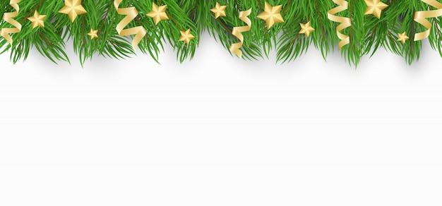Sfondo di natale con albero di natale, stelle dorate e coriandoli di nastri.