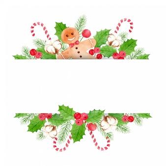 Sfondo di natale - con bacche e foglie di agrifoglio, pane allo zenzero, fiori di cotone, foglie di pino e bastoncino di zucchero