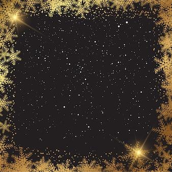 Sfondo di natale con bordo dorato fiocco di neve