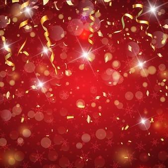 Sfondo di natale con coriandoli e stelle filanti d'oro