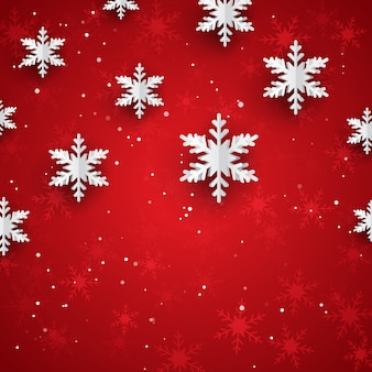 Sfondo di natale con fiocchi di neve di carta stile 3d