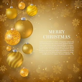 Sfondi Natalizi Oro.Sfondo Di Natale Con Palline Di Natale Oro Scaricare Vettori Premium