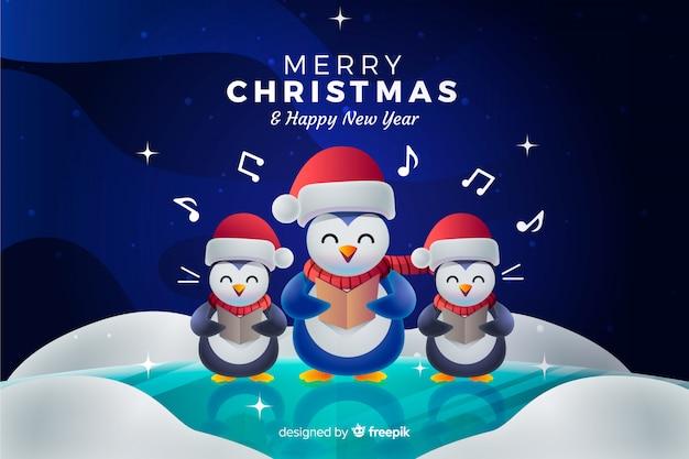 Sfondo di natale con pinguini cantando un canto natalizio