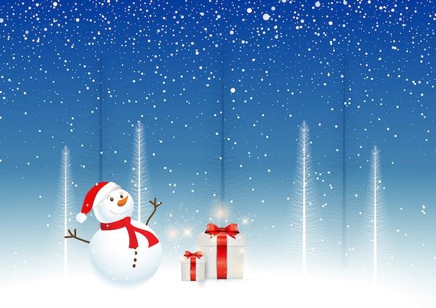 Sfondo di natale con pupazzo di neve e regali