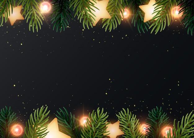 Sfondo di natale con rami di abete, stelle incandescenti, serpentine d'oro e lampadine luminose. sfondo grigio scuro con copyspace.