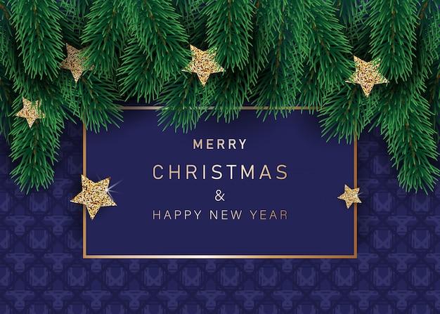 Sfondo di natale con stelle decorate con fiocchi di neve. con cornici di neve su sfondo blu. intestazione festiva per il tuo sito web