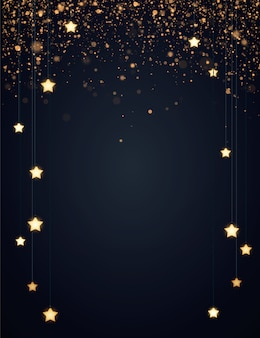 Sfondo di natale con stelle gialle incandescente e glitter oro o coriandoli. sfondo scuro con copyspace.