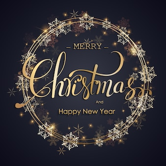 Sfondo di natale. handdraw lettering merry christmas illustration.
