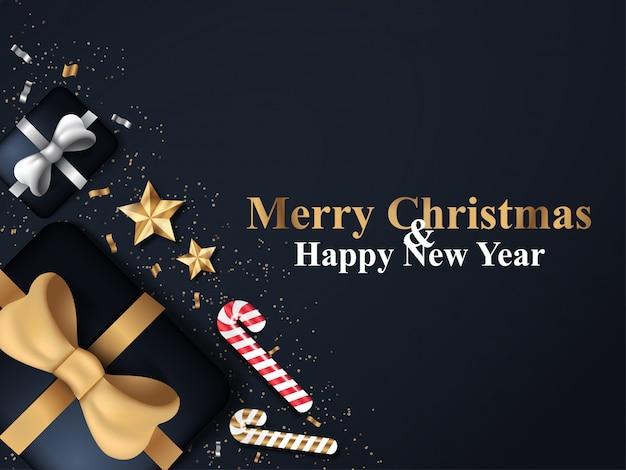 Sfondo di natale in colore nero con confezione regalo, stella d'oro e ornamento di caramelle