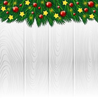Sfondo di natale in legno bianco