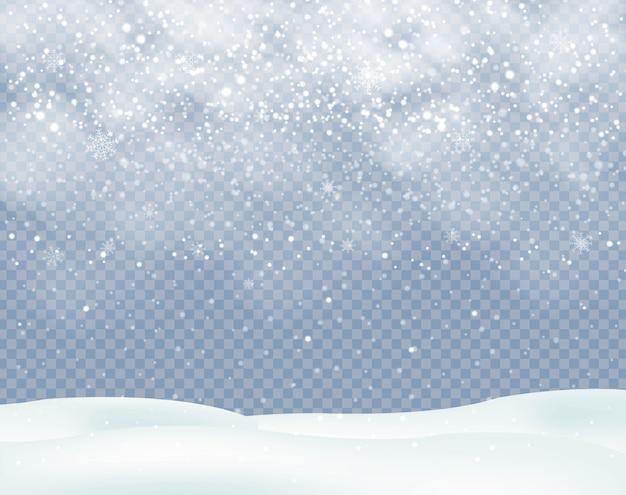 Sfondo di natale inverno con nevicate con fiocchi di neve