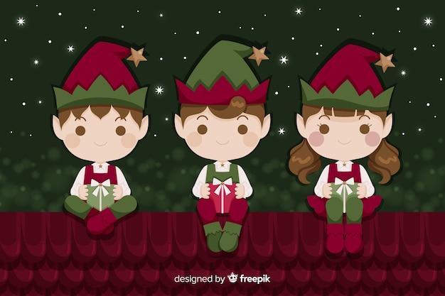 Sfondo di natale piatto con elfi