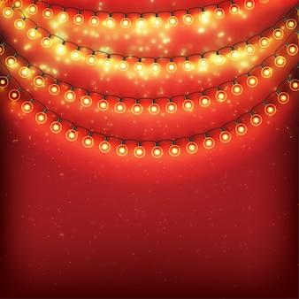 Sfondo di natale rosso con lampadine