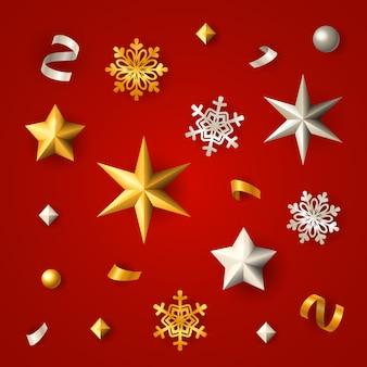 Sfondo di natale rosso con stelle, fiocchi di neve e coriandoli