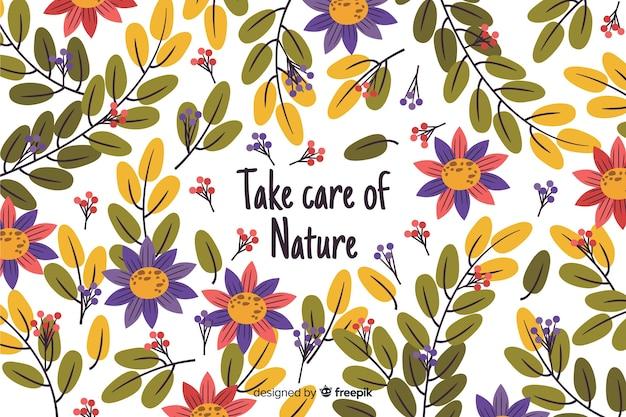Sfondo di natura disegnata a mano con citazione