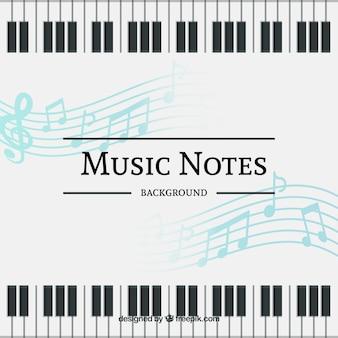 Sfondo di note musicali e tastiera di pianoforte