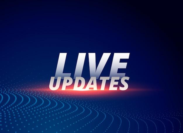 Sfondo di notizie con aggiornamenti dal vivo del testo