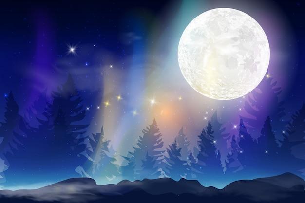 Sfondo di notte blu scuro con mese intero, nuvole e stelle. notte al chiaro di luna. illustrazione. milkyway spazio sullo sfondo