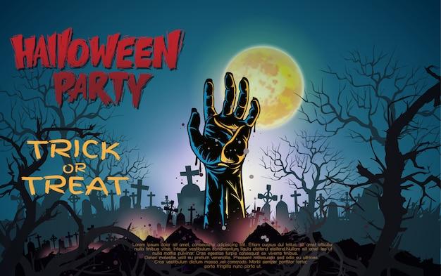 Sfondo di notte di halloween con la mano di zombie e la luna piena