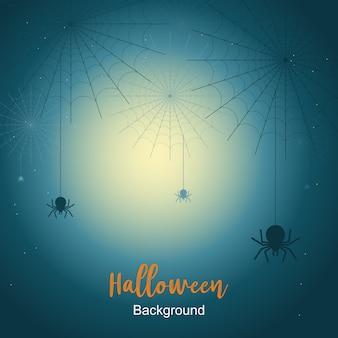 Sfondo di notte di halloween con ragnatela sotto la luce della luna.
