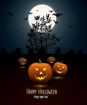 Sfondo di notte di halloween con zucca e luna piena
