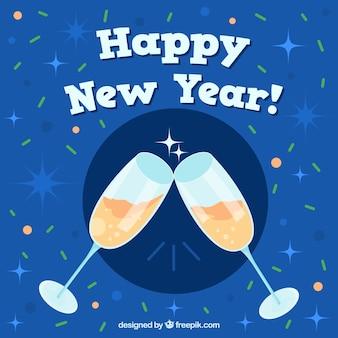 Sfondo di nuovo anno con un toast