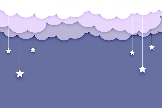 Sfondo di nuvole con stelle e testo soace