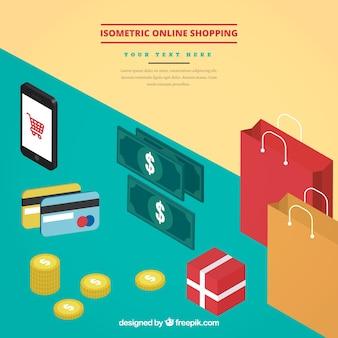 Sfondo di oggetti di acquisto online isometrico