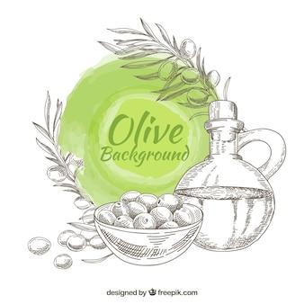Sfondo di oliva disegnati a mano con macchia rotonda nei toni del verde
