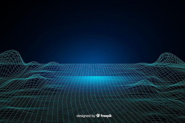 Sfondo di onde astratte particelle digitali