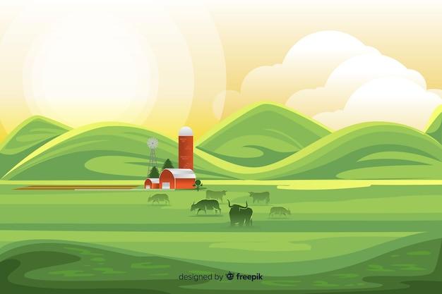 Sfondo di paesaggio di fattoria design piatto