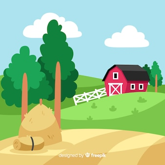 Sfondo di paesaggio piatto fattoria
