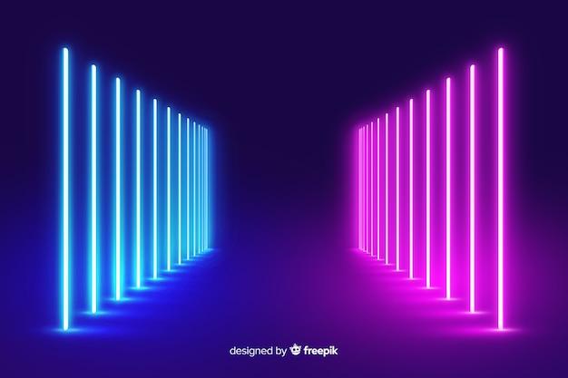 Sfondo di palcoscenico con luci al neon