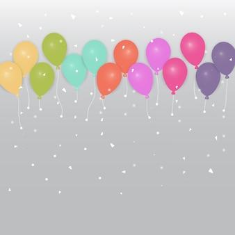 Sfondo di palloncini colorati partito e coriandoli