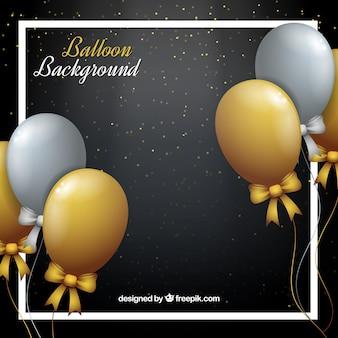 Sfondo di palloncini d'oro e grigio per festeggiare