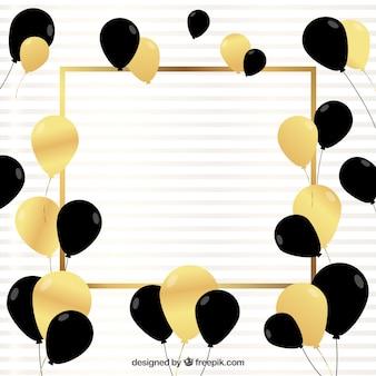 Sfondo di palloncini d'oro e nero per festeggiare