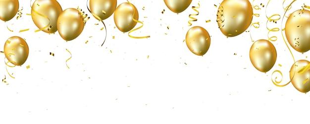 Sfondo di palloncini d'oro.