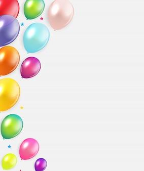 Sfondo di palloncini lucido buon compleanno