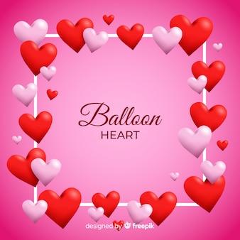 Sfondo di palloncino cuore cornice