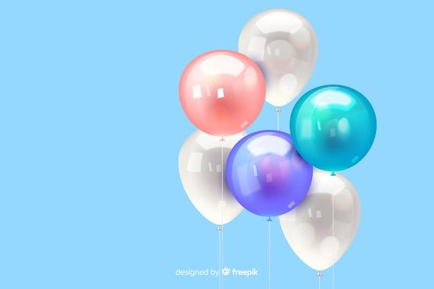 Sfondo di palloncino tridimensionale realistico lucido