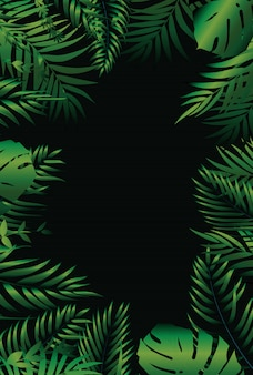 Sfondo di palma verde naturale tropicale. illustrazione