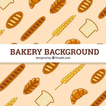 Sfondo di panetteria con pane e grano