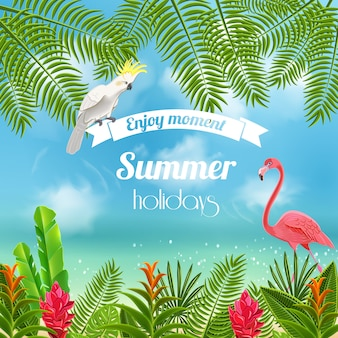 Sfondo di paradiso tropicale con immagine sfocata delle rive del mare con il pappagallo e le foglie del fenicottero