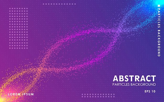 Sfondo di particelle di colore astratto dinamico.