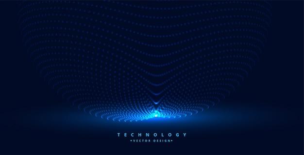 Sfondo di particelle di tecnologia con sorgente luminosa