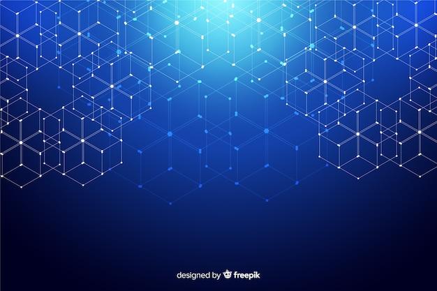 Sfondo di particelle di tecnologia esagonale