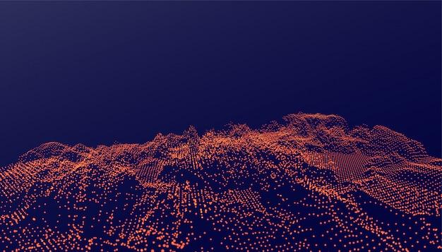Sfondo di particelle ditial in stile incandescente